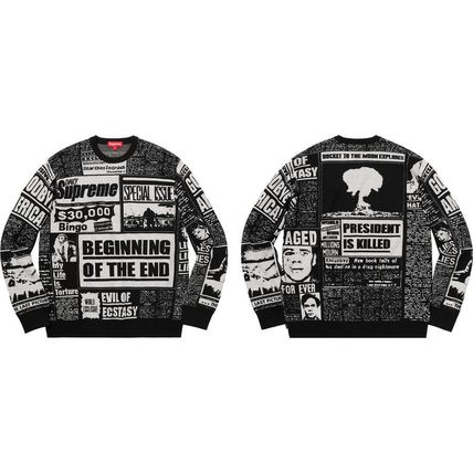 Supreme Knits & Sweaters Crew Neck Unisex Wool Street Style Long Sleeves 6