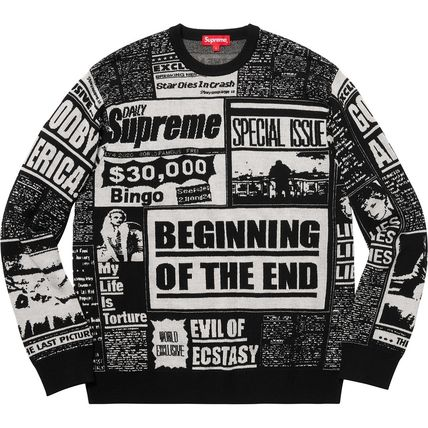 Supreme Knits & Sweaters Crew Neck Pullovers Unisex Wool Street Style Long Sleeves 4