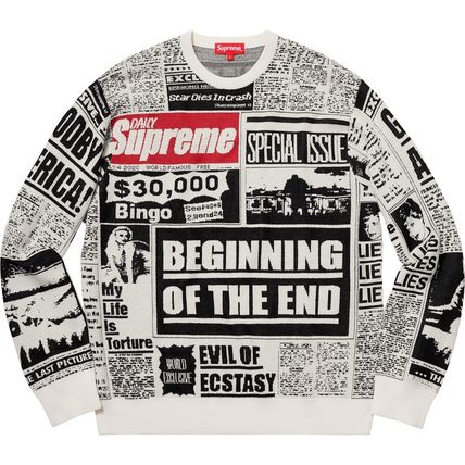 Supreme Knits & Sweaters Crew Neck Unisex Wool Street Style Long Sleeves