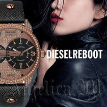 DIESEL Casual Style Leather Round Quartz Watches Analog Watches