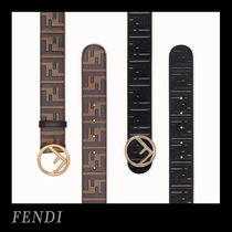 FENDI Monoglam Leather Belts