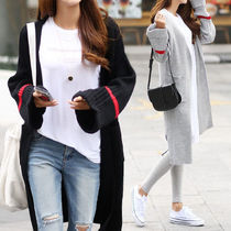 Rib Bi-color Long Puff Sleeves Cardigans