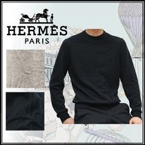 HERMES Cashmere Street Style U-Neck Long Sleeves Plain