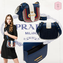 PRADA PIONNIERE Casual Style Blended Fabrics Studded Leather Shoulder Bags