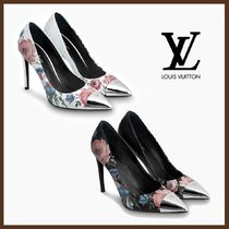 Louis Vuitton Flower Patterns Leather Pin Heels Elegant Style