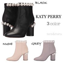Katy Perry Casual Style Plain Leather Block Heels Ankle & Booties Boots