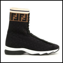 FENDI Monogram Round Toe Rubber Sole Casual Style Blended Fabrics
