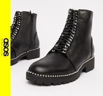 ASOS Casual Style Faux Fur Chain Ankle & Booties Boots