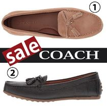 Coach Round Toe Casual Style Plain Loafer Pumps & Mules