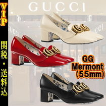 GUCCI GG Marmont Flower Patterns Round Toe Plain Leather Block Heels