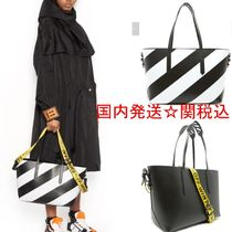 Off-White Stripes Unisex Street Style A4 2WAY Bi-color Totes