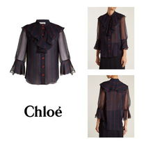 Chloe Stripes Casual Style Silk Medium Shirts & Blouses