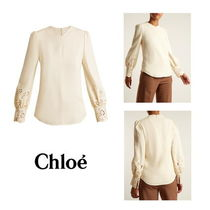 Chloe Long Sleeves Plain Medium Elegant Style Shirts & Blouses
