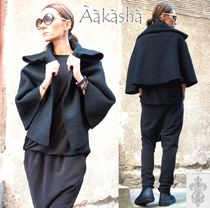 Aakasha Short Wool Plain Handmade Ponchos & Capes