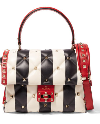 Valentino Handbags Stripes Casual Style Studded Leather 14