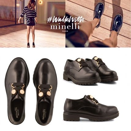 Plain Leather Elegant Style Loafer Pumps & Mules