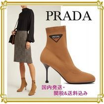 PRADA Platform Round Toe Casual Style Plain Ankle & Booties Boots