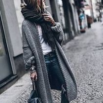Cable Knit Casual Style Plain Long Puff Sleeves Knitwear