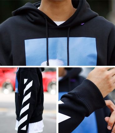Off-White Hoodies Street Style Long Sleeves Plain Cotton Hoodies 10