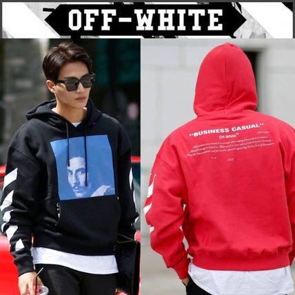 Off-White Hoodies Street Style Long Sleeves Plain Cotton Hoodies