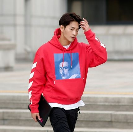 Off-White Hoodies Street Style Long Sleeves Plain Cotton Hoodies 12