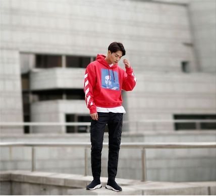 Off-White Hoodies Street Style Long Sleeves Plain Cotton Hoodies 14