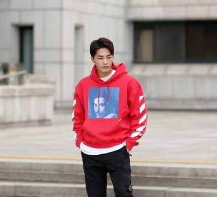 Off-White Hoodies Street Style Long Sleeves Plain Cotton Hoodies 15