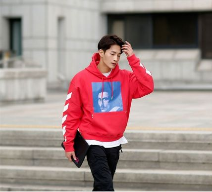 Off-White Hoodies Street Style Long Sleeves Plain Cotton Hoodies 16