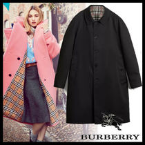 Burberry Other Check Patterns Wool Plain Long Elegant Style Coats