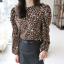 Leopard Patterns Casual Style Boat Neck Long Sleeves Medium