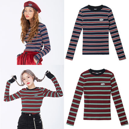 Crew Neck Stripes Casual Style Street Style Long Sleeves