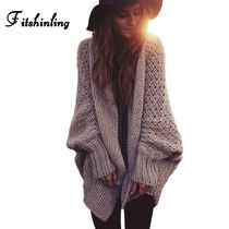 Cable Knit Casual Style Plain Medium Puff Sleeves Knitwear