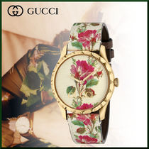 GUCCI Leather Round Digital Watches