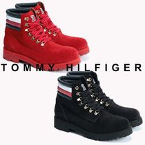 Tommy Hilfiger Plain Toe Mountain Boots Unisex Suede Street Style