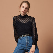 sandro Flower Patterns Rib Long Sleeves High-Neck Lace