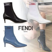 FENDI Stripes Casual Style Blended Fabrics Leather Pin Heels