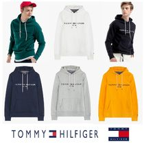 Tommy Hilfiger Pullovers Unisex Long Sleeves Cotton Khaki Hoodies