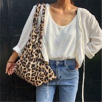 Leopard Patterns Casual Style Street Style 2WAY Totes