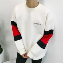 Crew Neck Unisex Street Style Bi-color Long Sleeves Plain