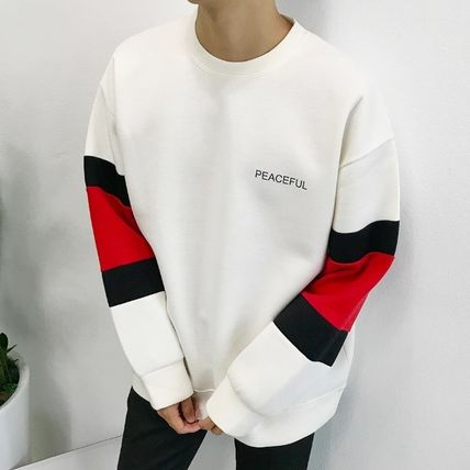 Long Sleeve Crew Neck Unisex Street Style Bi-color Long Sleeves Plain