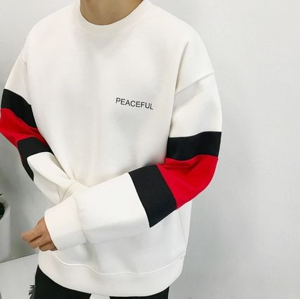 Long Sleeve Crew Neck Unisex Street Style Bi-color Long Sleeves Plain 2