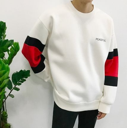 Long Sleeve Crew Neck Unisex Street Style Bi-color Long Sleeves Plain 3