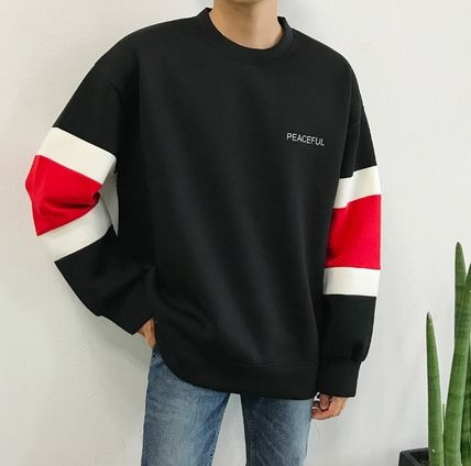 Long Sleeve Crew Neck Unisex Street Style Bi-color Long Sleeves Plain 5