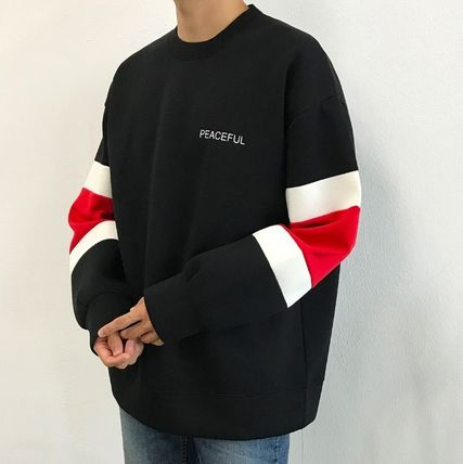 Long Sleeve Crew Neck Unisex Street Style Bi-color Long Sleeves Plain 7
