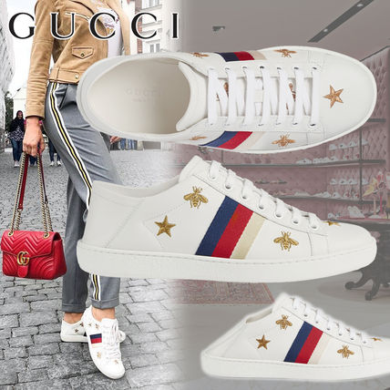 8766a56a44c ... GUCCI Low-Top Star Rubber Sole Casual Style Leather Low-Top Sneakers ...