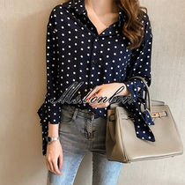 Dots Casual Style Chiffon Long Sleeves Medium