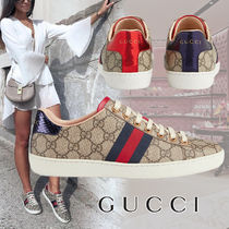 GUCCI Ace Monogram Rubber Sole Elegant Style Low-Top Sneakers