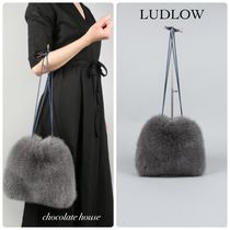 Ron Herman Fur Plain Handmade Party Style Purses Straw Bags