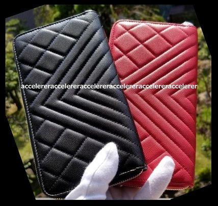 CHANEL ICON Unisex Leather Long Wallet  Long Wallets