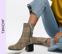 MONKI Other Check Patterns Casual Style Block Heels